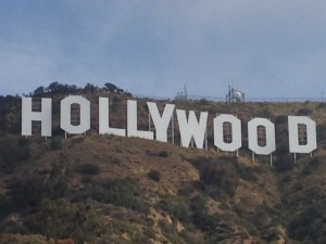 Close up view of the Hollywood Sign