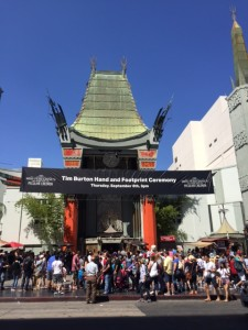Tim Burton Gets Handprints at Chinese Theatre