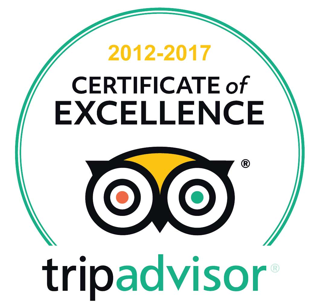 TripAdvisor certificate of excellence 2012 - 2017