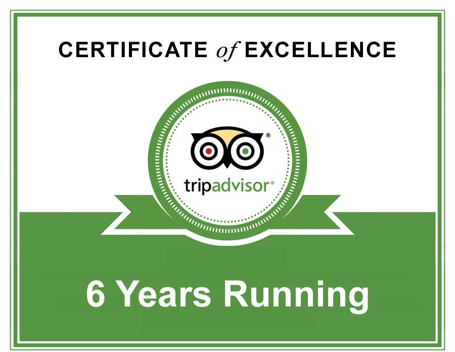 TripAdvisor Certificate of Excellence 6 years running