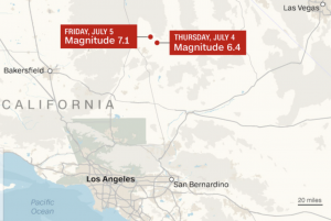 Where are the earthquakes in California